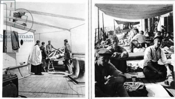 Some we shall never see again, others will be back in due course: A hospital-ship burial service and slightly wounded soldiers on deck, from 'The Illustrated War News' (b/w photo)