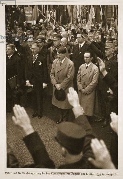 Hitler and the Reich Government at the Rally of Youth on 1st May 1933 in the Lustgarten, from 'Germany Awakened' (litho)