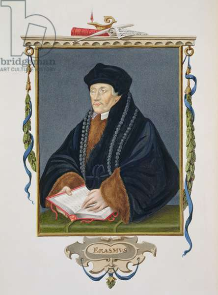 Portrait of Erasmus (c.1466-1536) from 'Memoirs of the Court of Queen Elizabeth', published in 1825 (w/c and gouache on paper)