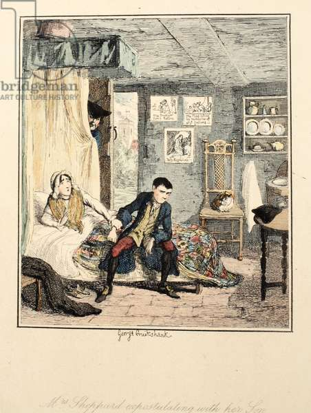 Mrs Sheppard expostulating with her son, illustration from 'Jack Sheppard: A Romance' by William Harrison Ainsworth, published 1839 (hand coloured etching)