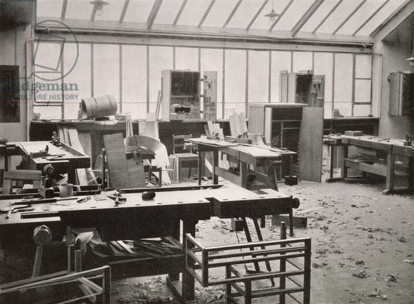 The Carpenter's Workshop, from the Workshops of the Bauhaus, Weimar, 1923 (b/w photo)