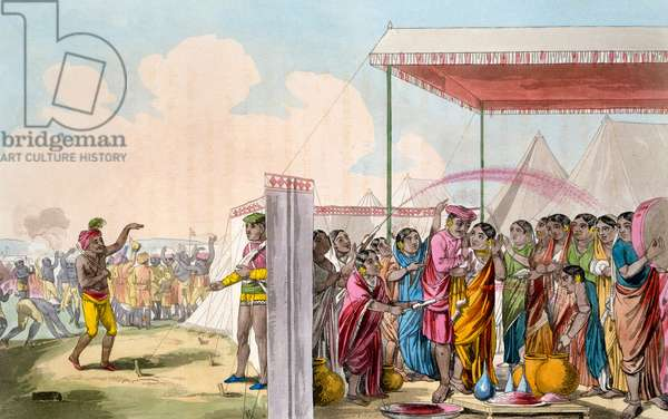 Playing the Hohlee, from 'The Costume, Character, Manners, Domestic Habits and Religious Ceremonies of the Mahrattas' by T. D. Broughton, etching by Baxter, 1813 (colour litho)