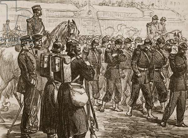 Evacuation of Metz, 1870, illustration from 'Cassell's Illustrated History of England' (engraving) (sepia photo)