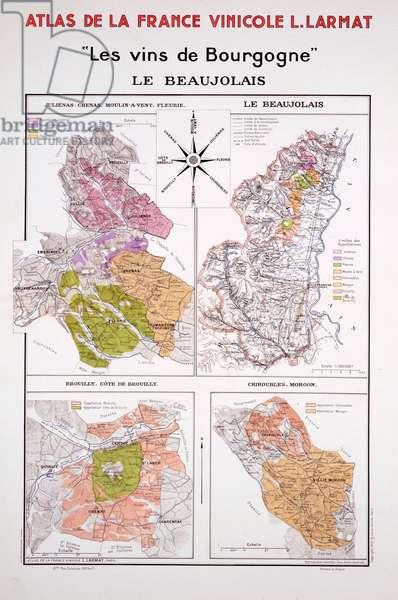 Map of the Beaujolais Region, illustration from 'Atlas de la France Vinicole' by Louis Larmat, published 1942 (colour litho)