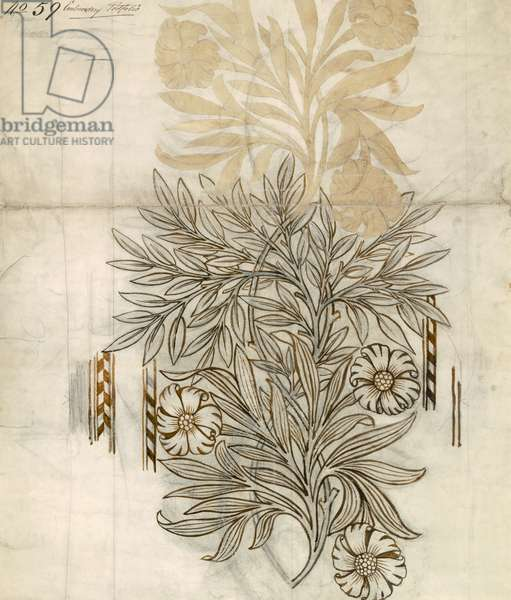 Floral textile design for Morris and Co. (w/c & pencil on paper)