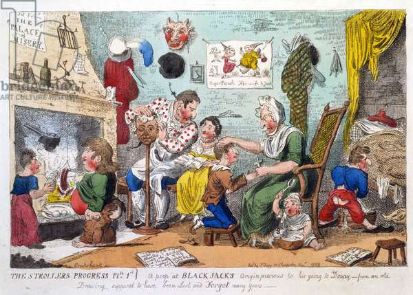 The Strollers Progress Plate 1, a Peep at Black Jack's Origin Previous to his Going to Douay, pub. 1809 (hand coloured etching)