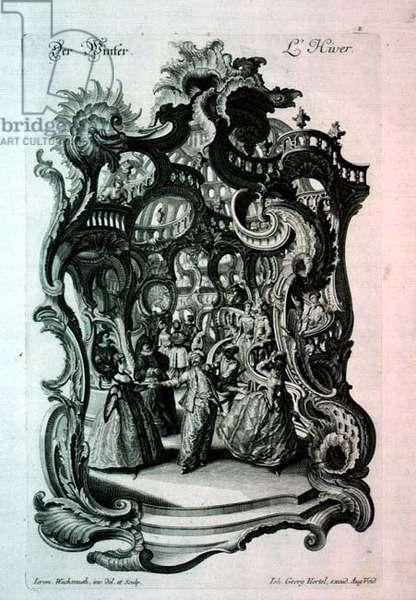 Winter, rococo music sheet depicting a fancy dress ball, pub. by Johann Georg Hertel, 1750-60