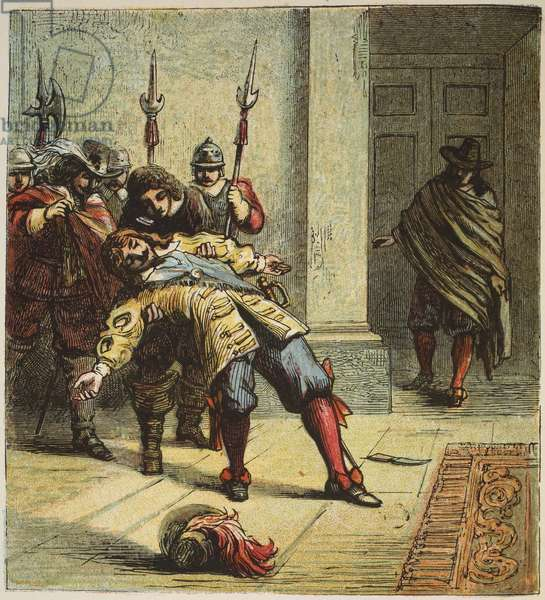 The Murder of Buckingham, pub. 1890 (colour lithograph)