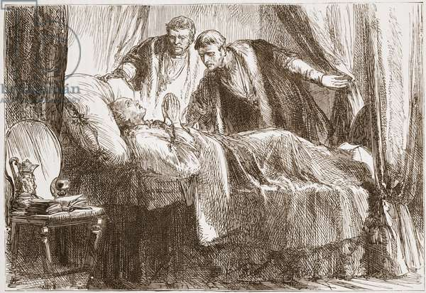 Luther on his death-bed, illustration from 'The History of Protestantism' by James Aitken Wylie (1808-1890), pub. 1878 (engraving)
