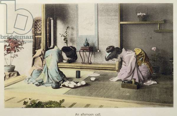 An Afternoon Call, c.1880 (hand coloured albumen print on card)