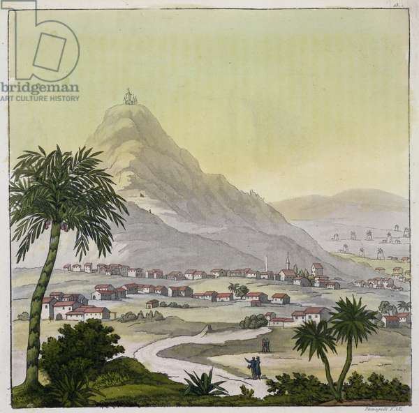 A view of the township of Lima, Peru, from 'Le Costume Ancien et Moderne', Volume II, plate 13, by Jules Ferrario, engraved by Paolo Fumagalli, published c.1820s-30s (colour litho)
