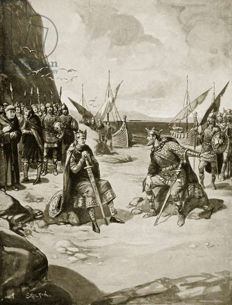 The meeting of Canute and Edmund Ironside, 1016, illustration from 'Hutchinson's Story of the British Nation', c.1923 (litho)