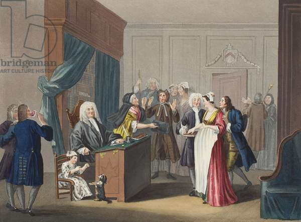 Justice triumphs, illustration from 'Hogarth Restored: The Whole Works of the celebrated William Hogarth, re-engraved by Thomas Cook', pub. 1812 (hand-coloured engraving)