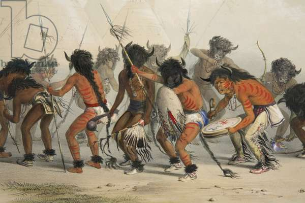 Buffalo Dance (detail) ,from Catlin's North American Indian Portfolio. Hunting Scenes and Amusements of the Rocky Mountains and Prairies of America, pub. 1845 (colour litho)