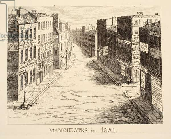 Manchester in 1851, from '1851 or The Adventures of Mr & Mrs Sandboys and family who came up to London to enjoy themselves and to see the Great Exhibition', pub. 1851 (engraving)