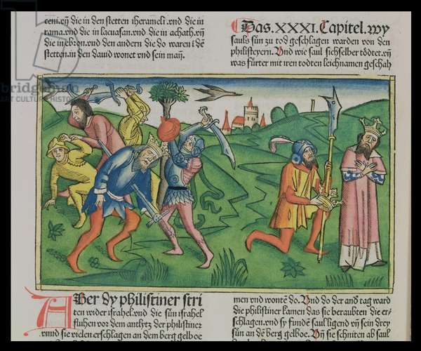 I Samuel 31 The suicide and beheading of Saul, from the 'Nuremberg Bible (Biblia Sacra Germanaica)' (coloured woodcut)