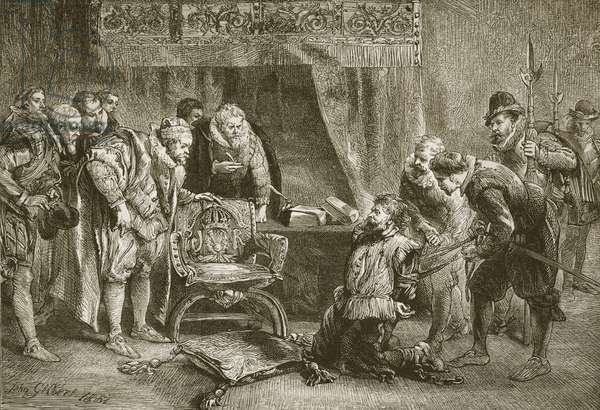 Guy Fawkes brought before James I and his council, engraved by C. Butterworth (engraving)
