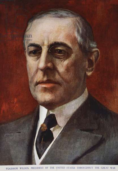 Woodrow Wilson, President of the United States throughout the Great War, 1914-19 (colour litho)