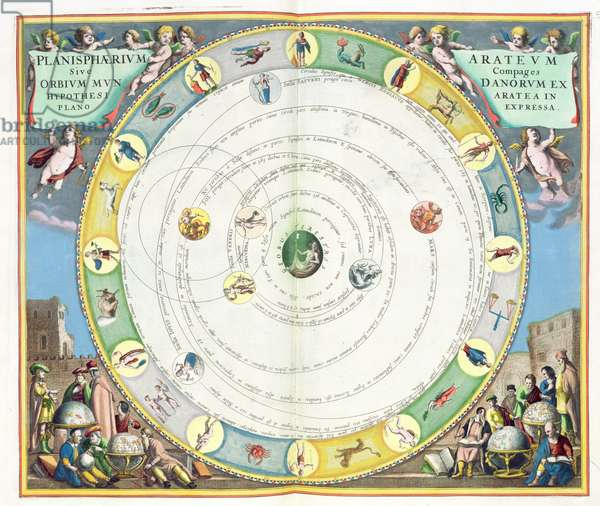 Chart describing the Movement of the Planets, from 'A Celestial Atlas, or The Harmony of the Universe' (Atlas coelestis seu harmonia macrocosmica) pub. by Joannes Janssonius, Amsterdam, 1660-61 (hand coloured engraving)