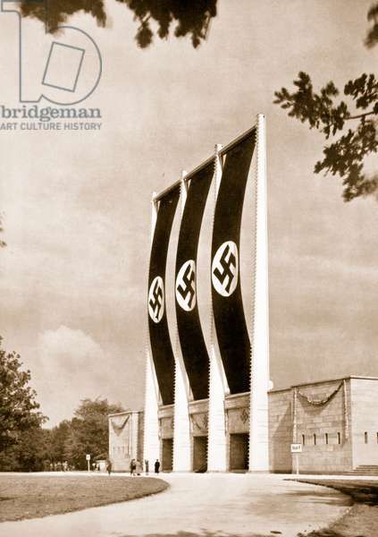 Rear view of the Grand Stand for Nationalist Socialist Party Congresses at Nuremberg, from 'Germany: The Olympic Year', pub. by Volk und Reich Verlag Berlin, 1936 (sepia photo)