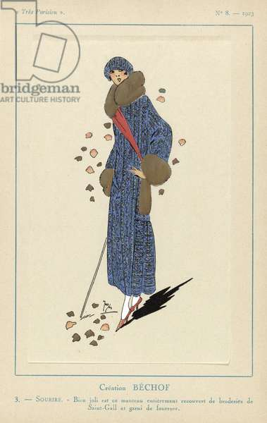 """Sourire"" , Creaton Bechof,  from Tres Parisien, pub. 1923 (coloured engraving)"