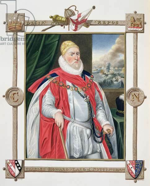 Portrait of Charles Howard (1536-1624) 2nd Baron of Effingham and 1st Earl of Nottingham from 'Memoirs of the Court of Queen Elizabeth', after a portrait by Daniel Mytens (1644-88) published in 1825 (w/c and gouache on paper)