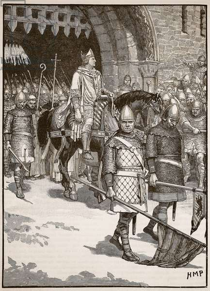 Departure of Bishop Odo from Rochester, illustration from 'Cassell's Illustrated History of England' (engraving) (sepia photo)
