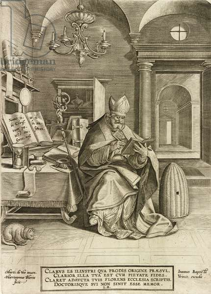 Saint Ambrose,  from the series The Four Fathers of the Church, pub. 1586 (engraving)
