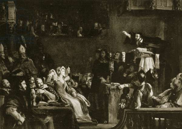 John Knox preaching before the Lords of Congregation in the Cathedral of St. Andrews, 1559, illustration from 'Hutchinson's Story of the British Nation', c.1923 (litho)