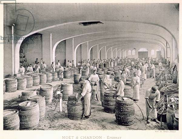 Constructing the barrels, from 'Le France Vinicole', pub. by Moet & Chandon, Epernay (photolitho)