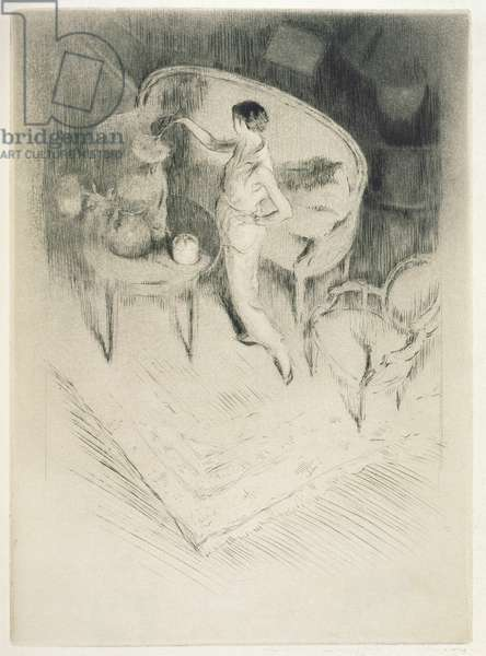 A woman arranging flowers, illustration for 'Mitsou' by Sidonie-Gabrielle Colette (1873-1954) published 1930 (etching & drypoint)