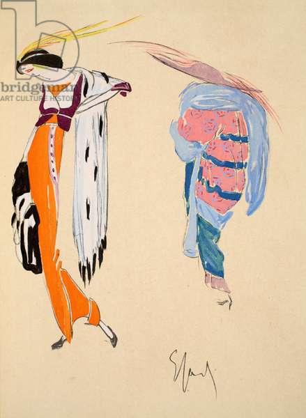 Design for day dress, 1912, plate 2, illustration from 'Robes et Femmes', pub. Dorbon-Ainé, Paris, 1913 (pochoir print)
