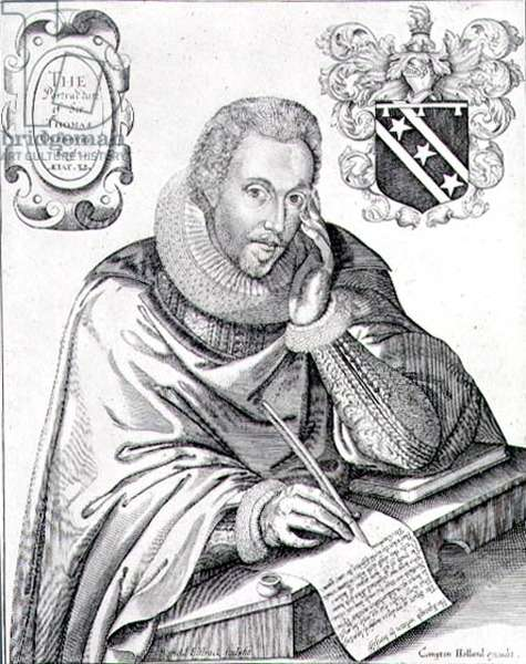 Portrait of Sir Thomas Overbury (1581-1613) writing out his epitaph, engraved by Renold Elstrack (1571-c.1630) 1613 (engraving)