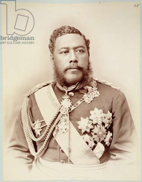 King Kalakaua (1836-91), late c19th (sepia photo)