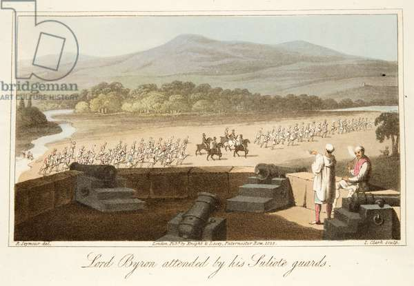 Lord Byron attended by his Suliote Guards, from The Last Days of Lord Byron by William Parry, pub. 1825 (hand coloured engraving)