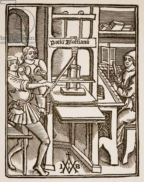 Printing Press, title page of 'Hegesippus', printed by Jodocus Badius Ascensius, Paris, 1511 (engraving) (sepia photo)