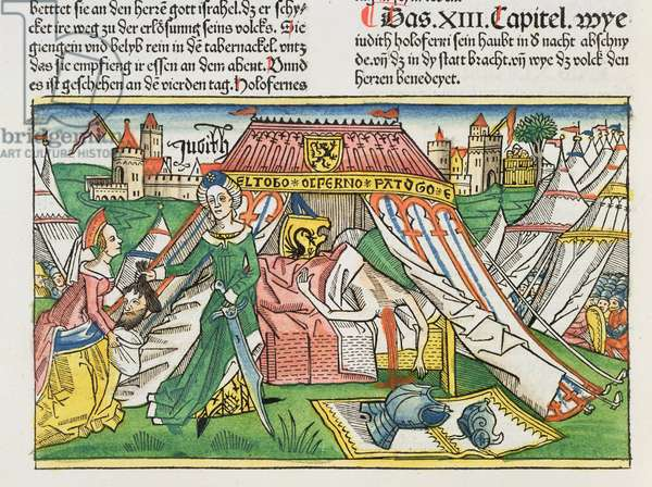 Apocrypha: Judith with the severed head of Holofernes, from the 'Nuremberg Bible (Biblia Sacra Germanaica)' (coloured woodcut)