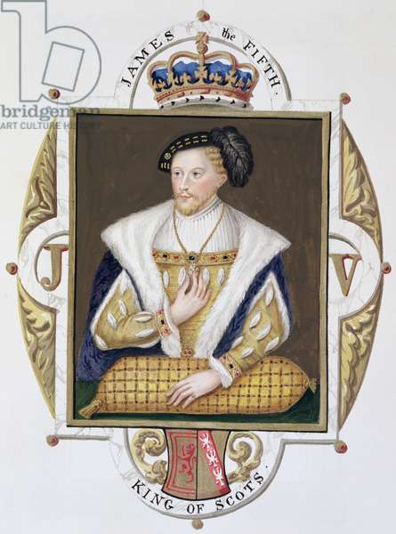 Portrait of James V (1512-42) King of Scotland from 'Memoirs of the Court of Queen Elizabeth', published in 1825 (w/c and gouache on paper)