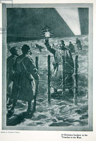 The Christmas Day Truce of 1914, from 'The Year 1915: a Record of Notable Achievements and Events', 1915 (litho)