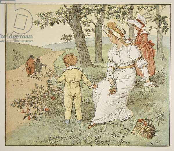 Walking to Mousey's Hall, illustration from 'A Frog He Would A-Wooing Go', pub. by Frederick Warne & Co. (coloured engraving)