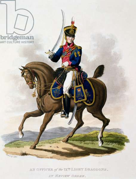 Uniform of an Officer of the 9th Light dragoons in Review Order, from 'Costume of the British Empire, according to the Last Regulations', published 1812-15 (hand-coloured aquatint)