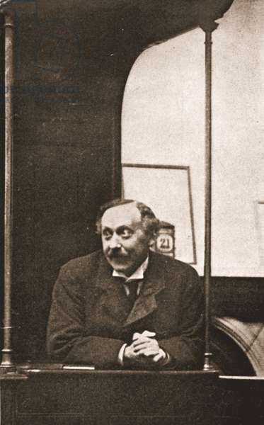 Mr Herbert Gladstone in the witness-box at the trial of Emmeline Pankhurst and others, 1908 (sepia photo)
