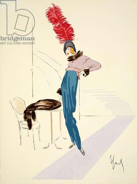Design for day dress, 1912, plate 12, illustration from 'Robes et Femmes', pub. Dorbon-Ainé, Paris, 1913 (pochoir print)