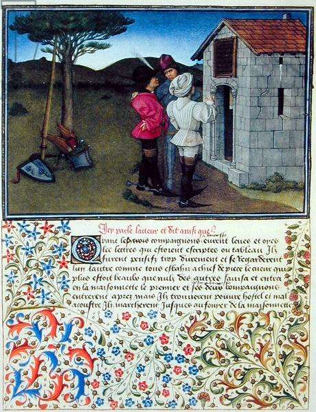 Ms. 2597 Heart, Desire and Generosity in front of the Cottage of Sighing Grief, facsimile edition of 'Livre du Coeur d'Amours Espris' by Rene d'Anjou (colour litho)