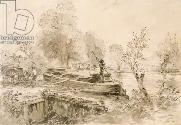 Men loading a barge on the Stour, 1827 (pencil, pen & grey wash on paper)