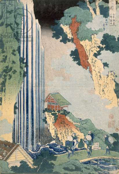 Ona Waterfall on the Kisokaido, 1827 (colour woodblock print)