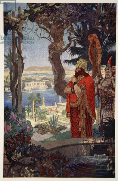 Nebuchadnezzar in the Hanging Gardens of Babylon, illustration from 'Myths of Babylonia and Assyria' by Donald A. Makenzie, 1915 (colour litho)