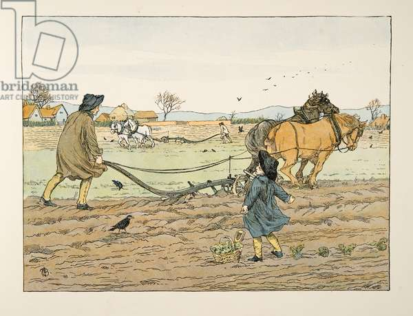 The Ploughman,  from Four and Twenty Toilers, pub. 1900 (colour litho)