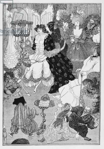 Illustration, probably from The Battle of the Beaux and the Belles, c.1896 (litho)