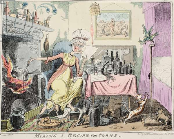 Mixing A Recipe for Corns, pub. 1835 (hand coloured engraving)